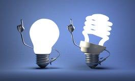 Gewundener Glühlampecharakter und Wolfram einer mit Ideen vektor abbildung