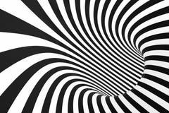 Gewundener Schwarzweiss-Tunnel Gestreifte verdrehte hypnotische optische Täuschung entziehen Sie Hintergrund 3d übertragen vektor abbildung