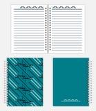 Gewundenes es-gehend Notizbuchmodelldesign - verbreiten Sie, Front und hintere Co Stockbild