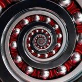 Gewundenes industrielles Kugellager schönes ungewöhnliches abstraktes Rot des Fractal rechts herum Gewundener Fractaleffekt von L stockfotos