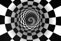 Gewundenes Konzeptbild des Schachs Der Raum und die Zeit illustratio 3D Stockbild