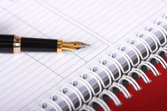 Gewundenes Notizbuch und Füllfederhalter Stockbilder