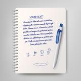 Gewundenes Notizbuch und weißer Kugelschreiber Lizenzfreie Abbildung
