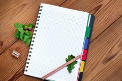 Gewundenes Papiernotizbuch mit Bleistift, Bleistiftspitzer und Stockbilder