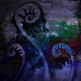 Gewundenes Spulen-Aquarell-kunstvoller Hintergrund Lizenzfreies Stockfoto