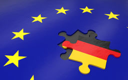 Gexit and EU. 3d illustration Gexit the removed piece in a puzzle EU Stock Images
