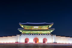 Geyongbokgung Palace at night in Seoul Korea. Stock Image