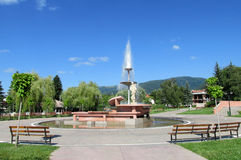 Geyserau centre de ville de Sapareva Banya, Bulgarie Photographie stock libre de droits