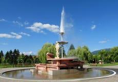 Geyseri stadskärnan av Sapareva Banya, Bulgarien Arkivfoto