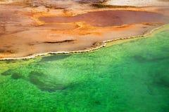 Geyser δυτικών αντίχειρων λεκάνη Coppe, Greenr και κίτρινος, Yellostone εθνικό στοκ εικόνα με δικαίωμα ελεύθερης χρήσης
