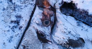 Geyser τοπίο κατά την εναέρια άποψη απόθεμα βίντεο