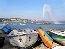 Geyser And Boats. In a small bay Royalty Free Stock Images