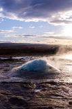 Geyser - bubble 2. Strokkur, an active geyser in iceland Royalty Free Stock Images