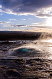 Geyser - bubble. Strokkur, an active geyser in iceland Royalty Free Stock Image