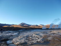Geyser Chile bolivia mountain hot spring water panorama Stock Photo