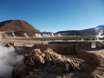 Geyser Chile bolivia mountain hot spring water panorama Royalty Free Stock Photos