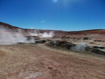 Geyser Chile bolivia mountain hot spring water panorama Royalty Free Stock Photography