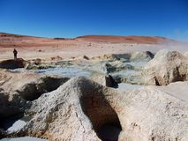 Geyser Chile bolivia mountain hot spring water panorama Stock Images