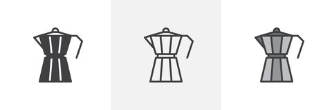 Geyser coffee maker icon. Line, glyph and filled outline colorful version, Moka pot, macchinetta outline and filled vector sign. Symbol, logo illustration vector illustration