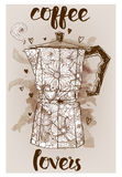 Geyser coffee maker. Vector sketch background with floral pattern royalty free illustration
