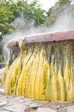 Geyser de bouillonnement avec de la pierre à chaux coloful Photo libre de droits