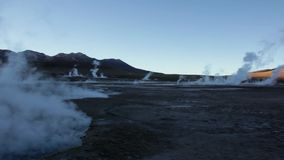 Geyser del Tatio panorama before the sun rise / no people stock video