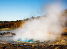 Geyser eruption, Iceland Royalty Free Stock Images
