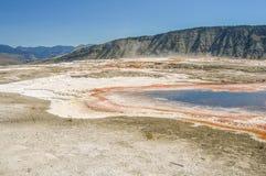 Geyser excelsior no parque nacional de Yellowstone fotos de stock