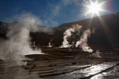 Geyser field El Tatio in Atacama region Royalty Free Stock Image