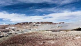 Geyser field El Tatio in back lighting, Atacama region, Chile stock footage