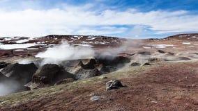 Geyser field El Tatio in back lighting, Atacama region, Chile stock video
