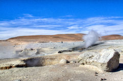 Geyser at the highlands. Geysers in the Andean highlands in Bolivia Stock Photo