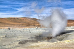 Geyser at the highlands. Geysers in the Andean highlands in Bolivia Stock Photography