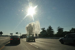 Geyser on I95 north of Philadelphia, PA, USA Royalty Free Stock Photos
