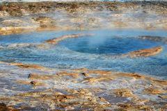 Geyser in Iceland about to erupt. Geyser in Iceland, Strokkur geysir the moment before arouption royalty free stock photography