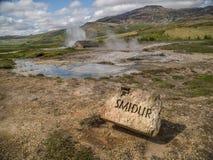 Geyser Islanda di Smidur Fotografia Stock Libera da Diritti