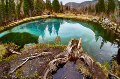 Geyser lake with clear cyan wate Royalty Free Stock Images