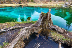 Geyser lake with clear cyan water Royalty Free Stock Photo