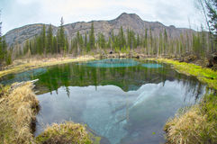 Geyser lake with clear cyan water Stock Photo