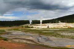 Geyser nel bacino superiore di Yellowstone Immagini Stock Libere da Diritti