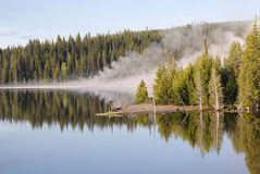 Geyser Reflections on Yellowstone Lake. Steam from West Thumb geothermal features reflects in morning's light over Yellowstone Lake, Wyoming royalty free stock photography