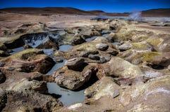 Geyser Sol de Manana in Bolivia royalty free stock photography