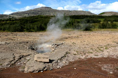 Geyser with steam in iceland Stock Photo