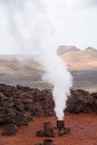 Geyser steam Lanzarote Royalty Free Stock Images