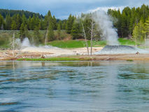 Geyser steaming Royalty Free Stock Images