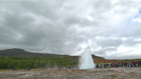 Geyser Strokkur, the famous and tourist attraction geyser. In the Golden Circle Iceland stock video