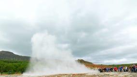 Geyser Strokkur, the tourist attraction geyser. In Iceland stock footage