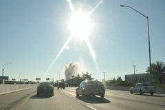 Geyser sur I95 le nord de Philadelphie, PA, Etats-Unis Images stock