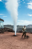 Geyser in Timanfaya Park Lanzarote, Canary Stock Photo