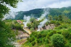 Geyser in valle di Furnas, isola di Miguel del sao, Azzorre, Portogallo fotografie stock